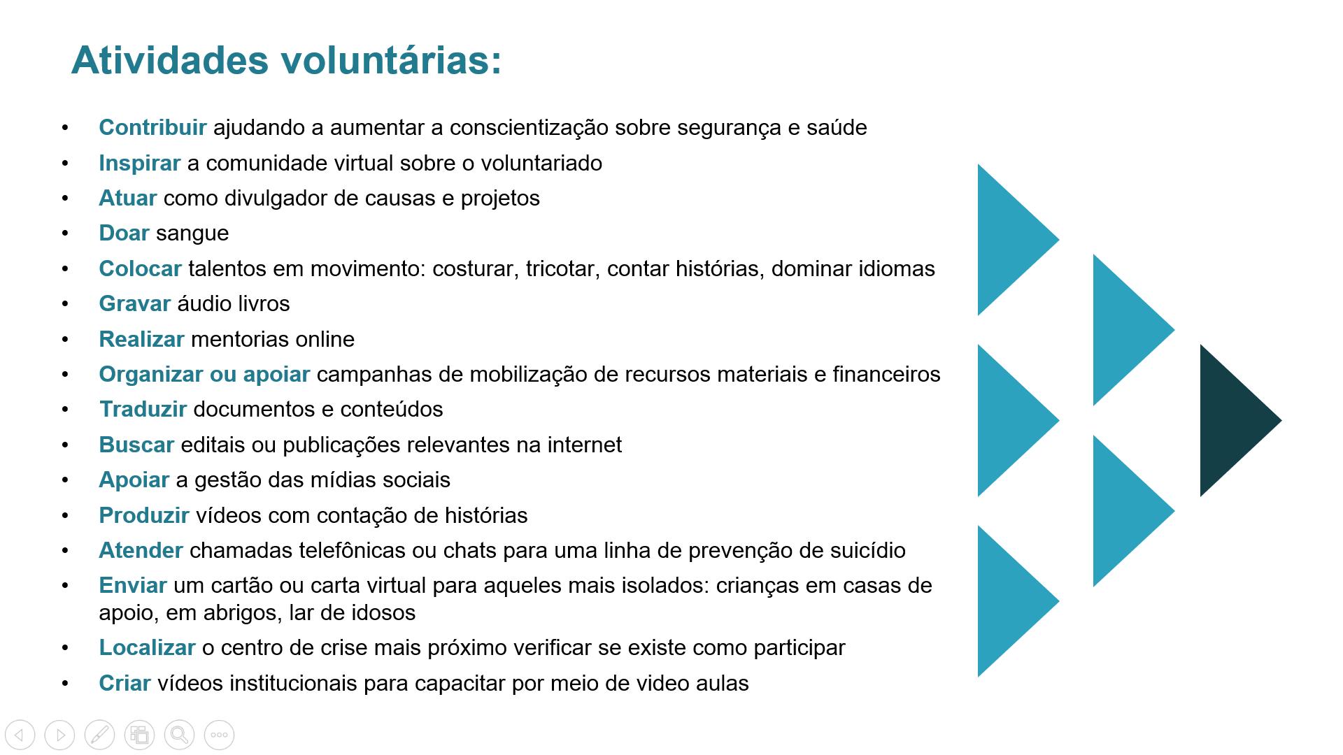 tabela atividades voluntárias